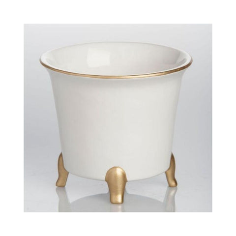 White with Gold Cachepot