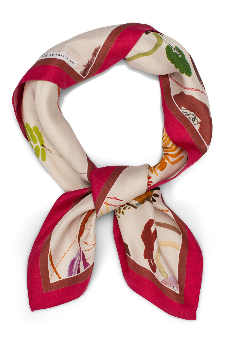 Memories Raspberry Silk Scarf