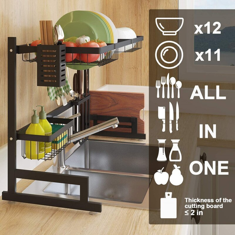 Expandable Stainless Steel Over the Sink Dish Rack