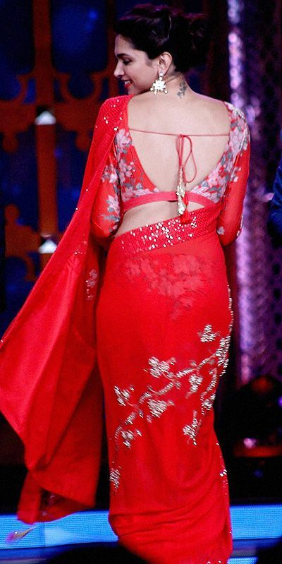 backless sarees designs Deepika Padukone