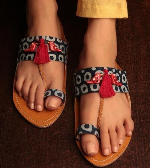 Kolhapuri Chappals footwear with saree