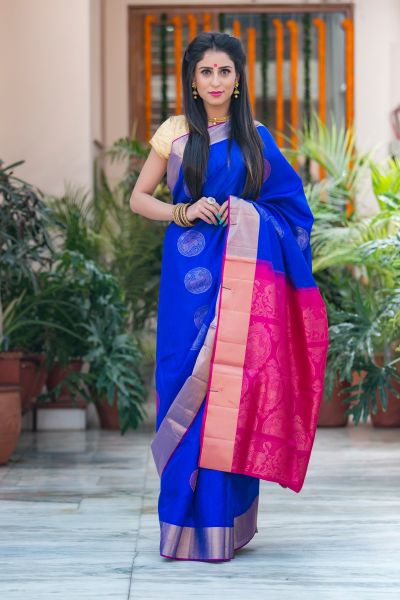KarwaChauth Blue Silk Saree