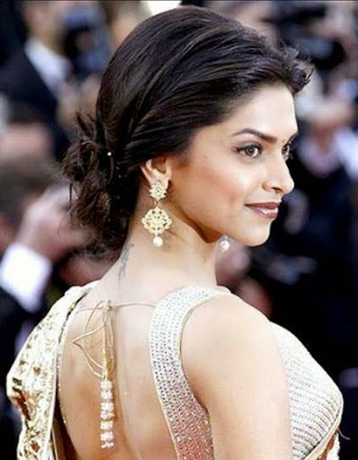 Backless saree hairstyles