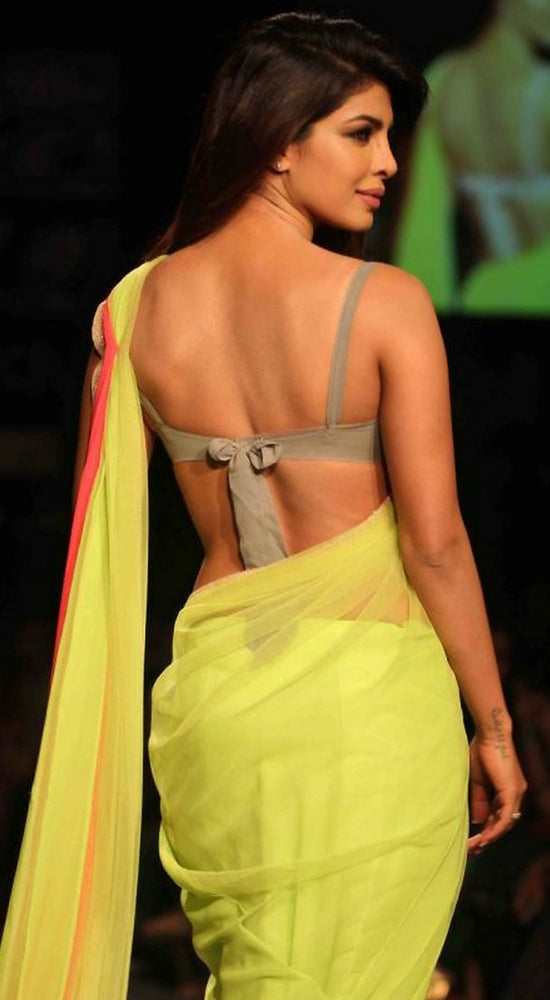 backless sarees designs Priyanka