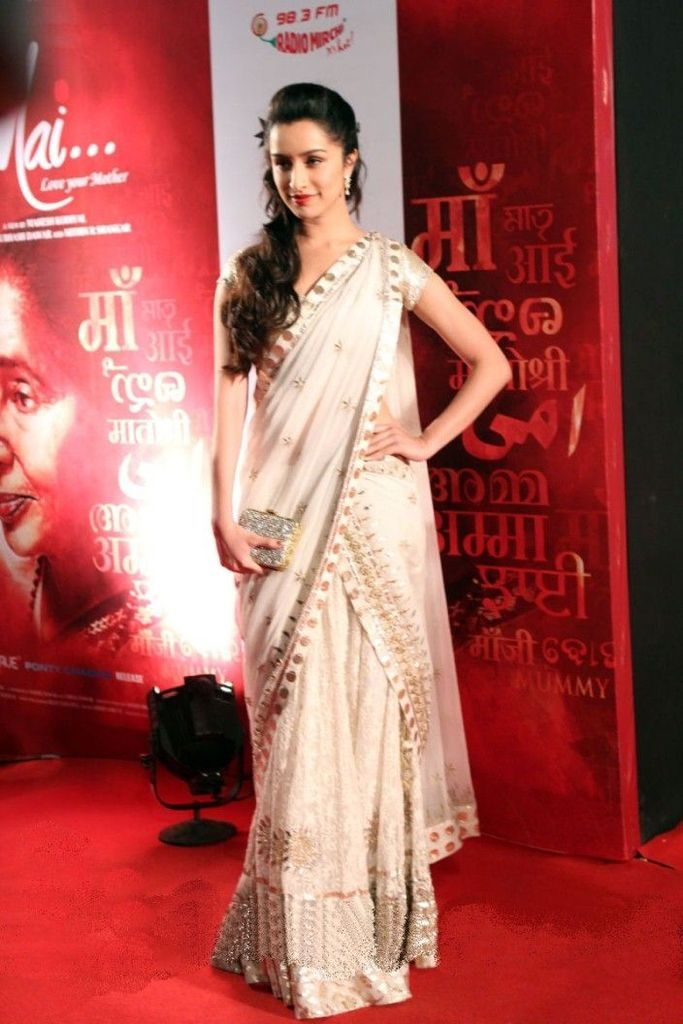shraddha kapoor in white saree