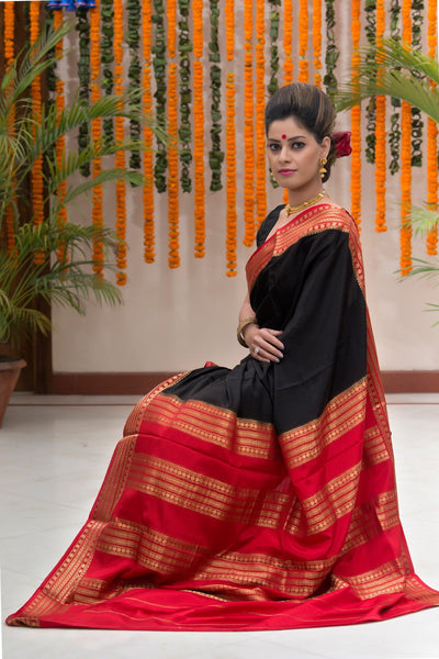 Black Red Pure Crepe Silk Saree