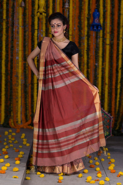 Coral Pink With Zari Pallu Chanderi Cotton Saree