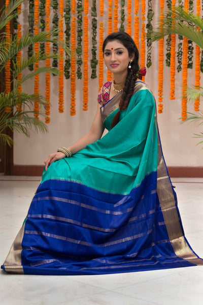 Turqouise Blue Pure Mysore Silk Saree