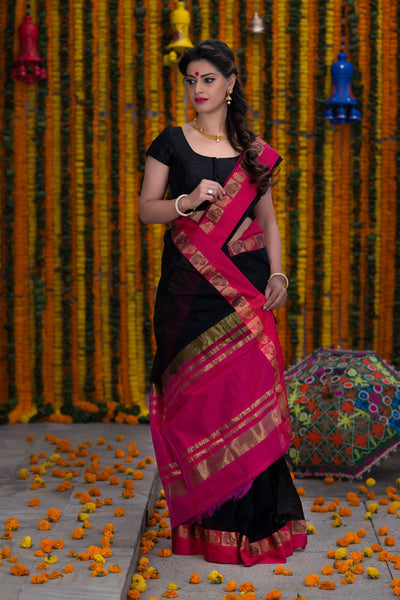 Pink And Black Pure Cotton Saree With Pure Zari Booti Work On Border