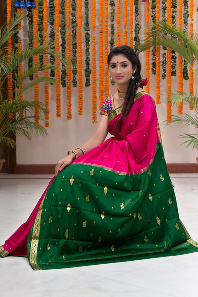 Magenta Pink And Green Pure Mysore Silk Saree