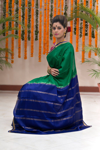 Basil Green And Blue Pure Mysore Silk Saree