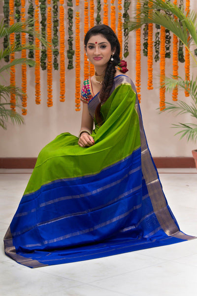 Pure Mysore Silk Pear Green And Blue