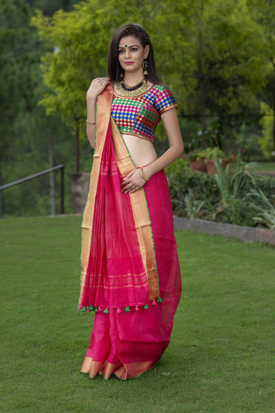 Magenta Pink Green Pure Linen Saree