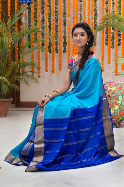 SkyBlue Pure Mysore Silk Handloom Saree