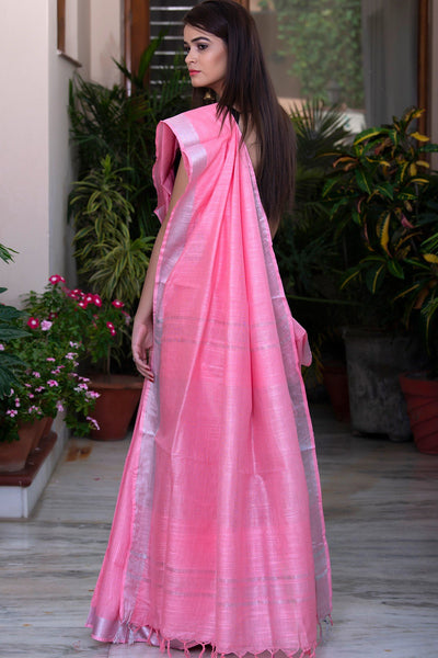 Pink With Silver Border Pure Linen Cotton Saree