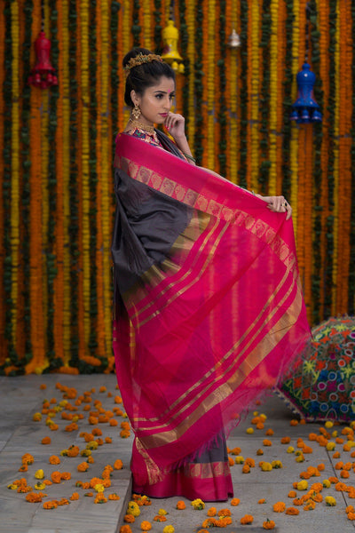 Pink And Grey Pure Cotton Saree With Pure Zari Booti Work On Border