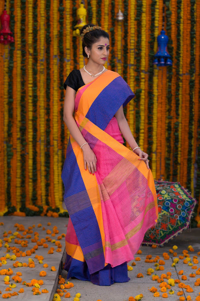 Pink Pure Kota Cotton Saree With Broad Border