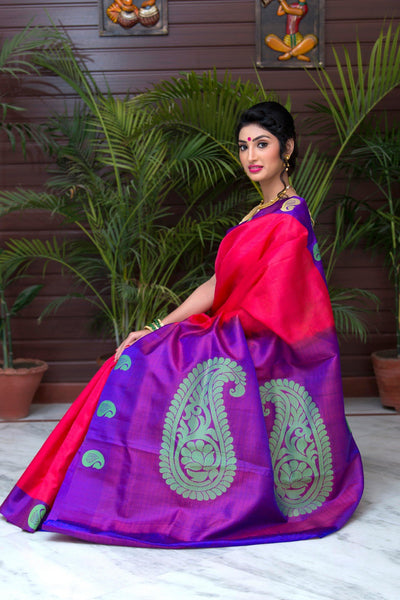 Pink Purple And Green Pure Kanjivaram Silk Handloom Saree