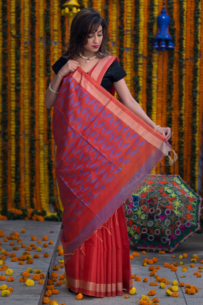 Scarlet Red With Purple Pallu Pure Cotton Bhagalpur Saree
