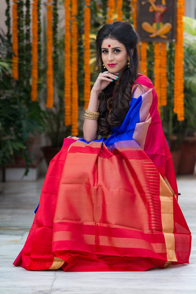 Azure Blue With Red Pallu And Border Pure Soft Silk Saree