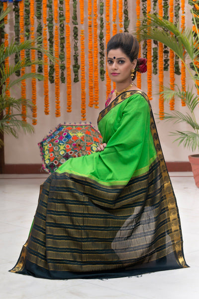 Green And Black Mysore Art Silk Saree