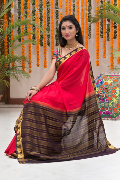 Red And Brown Mysore Art Silk Saree