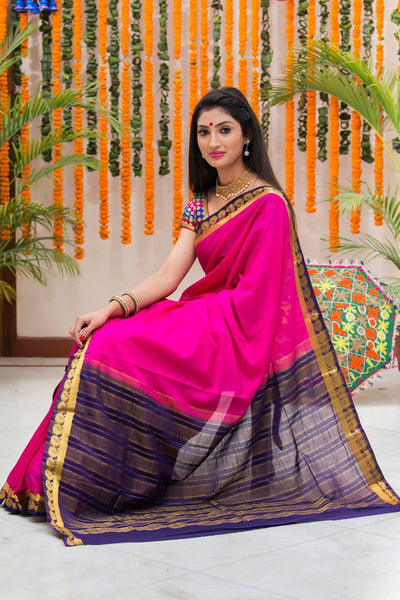 Magenta And Blue Mysore Art Silk Saree