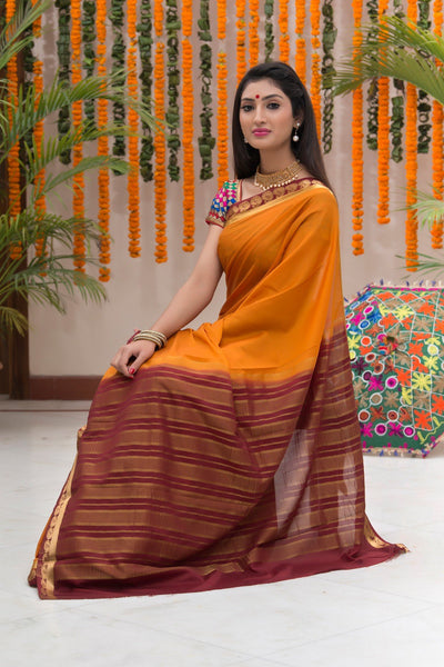 Mustard And Maroon Crepe Art Silk Saree