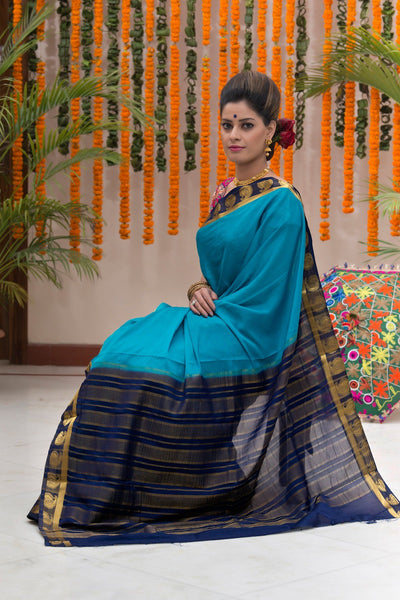 Turqouise Blue And Navy Blue Crepe Art Silk Saree