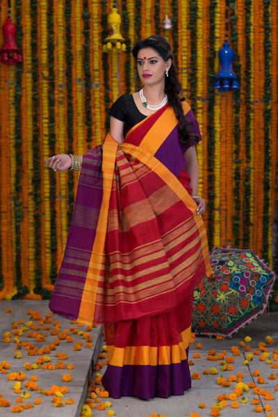 Red Yellow And Purple Pure Kota Cotton Saree