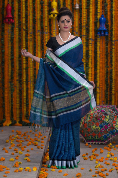 Blue Pure linen Handloom Saree