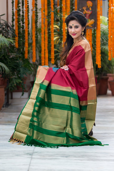 Maroon With Dark Green Pallu And Border Pure Soft Silk Saree