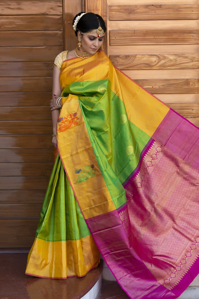 Kelly Green Yellow Kanjeevaram Pattu Silk Saree With Pink Zari Pallu