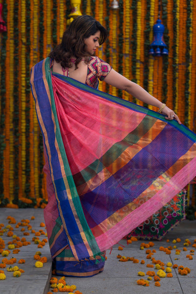Strawberry Pink And Purple Linen Saree