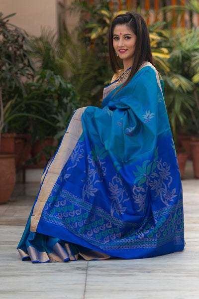 AARUNYA - Arctic Blue And Navy blue Soft Silk Saree
