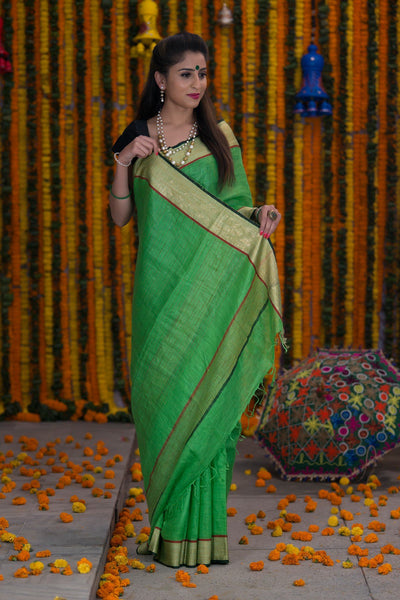 Parakeet Green Pure linen Handloom Saree