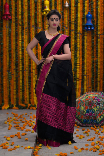 Hotpink And Black Pure Kota Cotton Saree