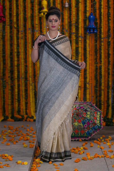 Mannequin Cream And Black Pure linen Handloom Saree