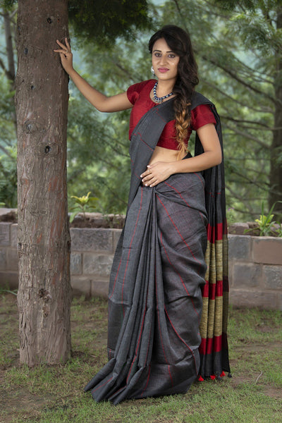 Grey And Red Pure Linen Saree With Khadi Pallu