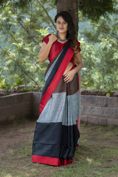 Black Red And Grey Pure Linen Saree