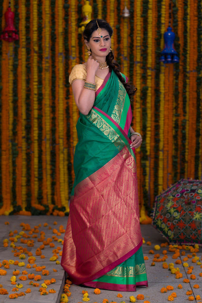 Green Pure Cotton Saree With Pure Zari Booti Work On Border