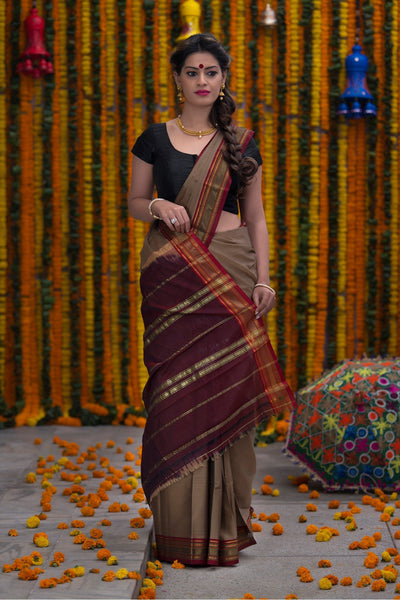Pure Cotton Saree With Pure Zari Work On Border
