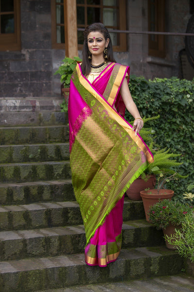 Magenta Hotpink With Green Pallu And Border Pure Soft Silk Saree With Jacquard Work