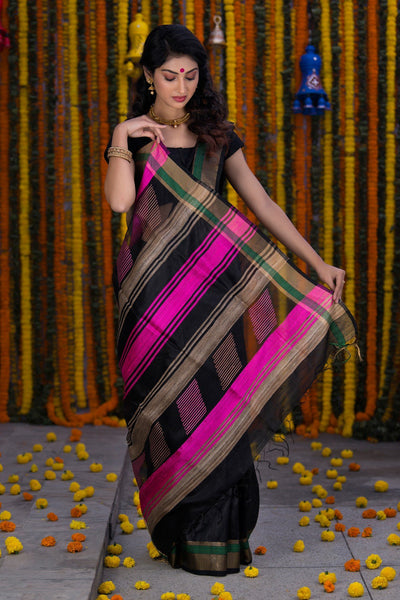 Black With Hotpink Border Raw Silk Handloom Saree