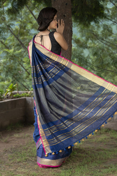 Blue Pure Linen Saree With Zari Border And Motifs