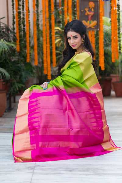 Kelly Green With Pink Pallu And Border Pure Soft Silk Saree