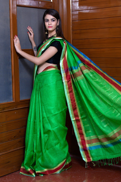 Green Pure Linen  Saree With Maroon Border