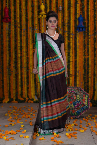 Hickory Brown Pure linen Handloom Saree