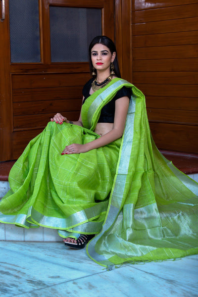 Lime Green Pure Linen Saree With Silver Border