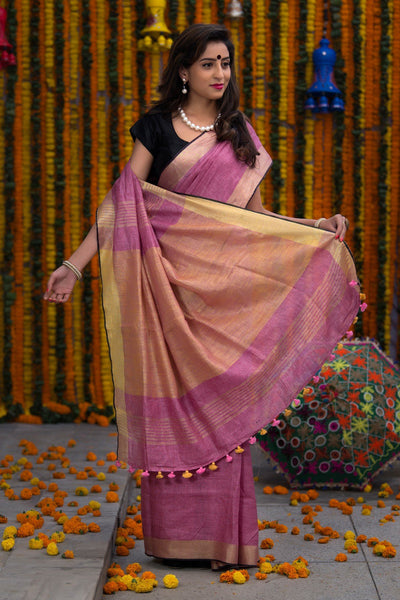 Lilac Pink With Sepia Cream Pallu Pure Linen Handloom Saree